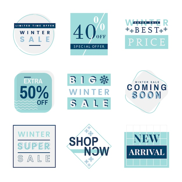 Set of winter sale badge Free Vector