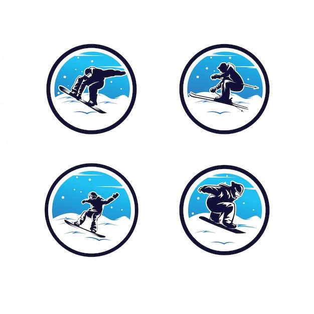Set of winter sport logo. snowboarding logo Premium Vector