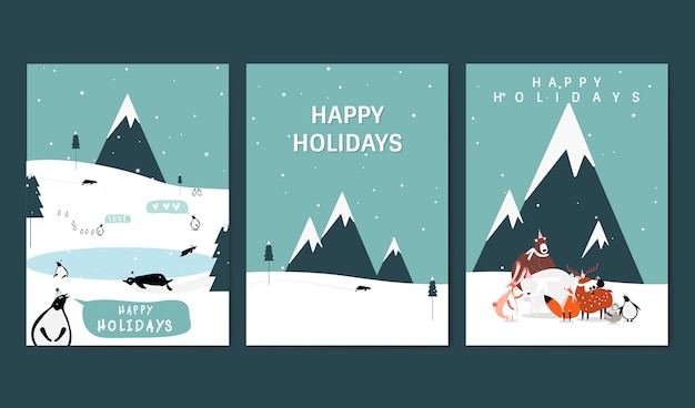 Set of winter themed greeting cards vector Free Vector