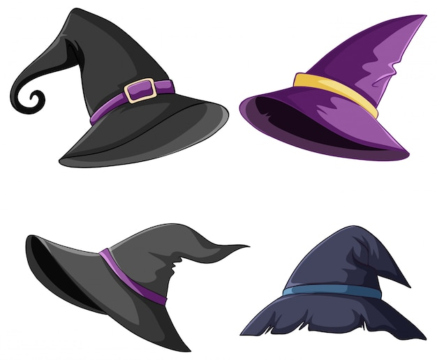 Set of witch and wizard hat Free Vector