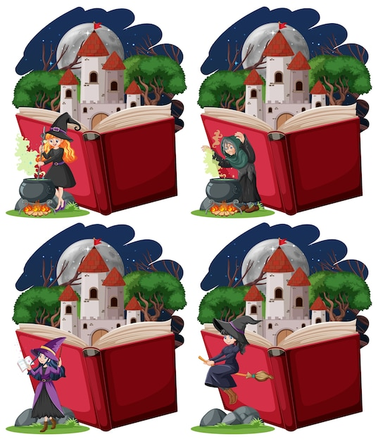 Set of witches and castle tower with pop up book cartoon style on white background Free Vector