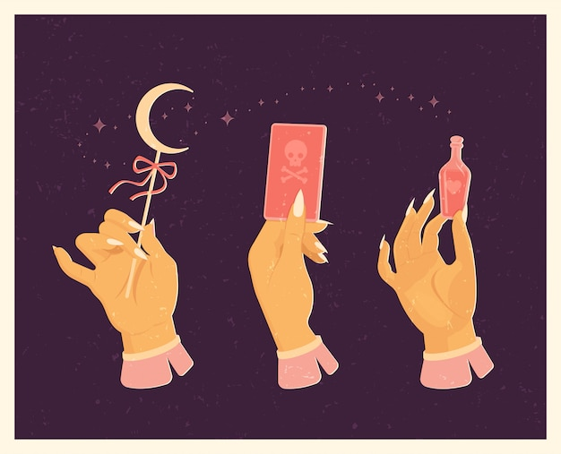 Set for witches magic ritual. in vintage style. Premium Vector