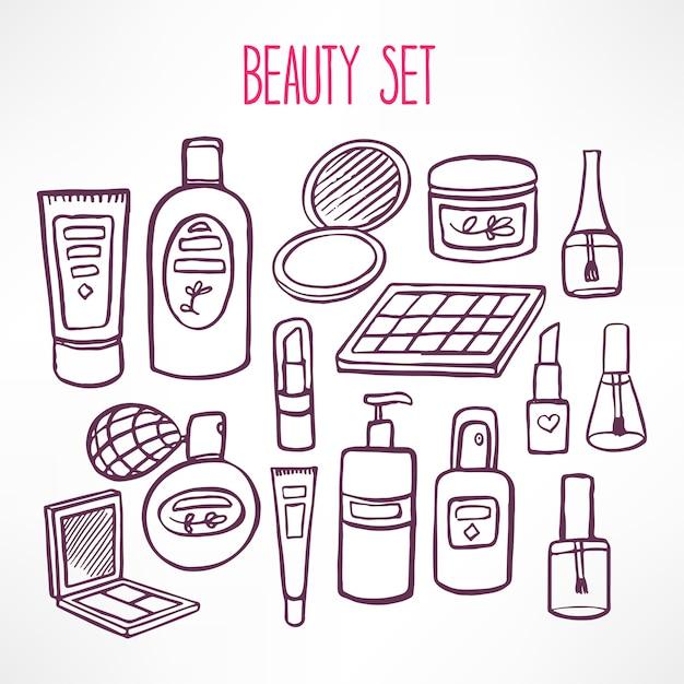 ボディケア用のさまざまな化粧品や製品がセットになっています。手描きイラスト Premiumベクター
