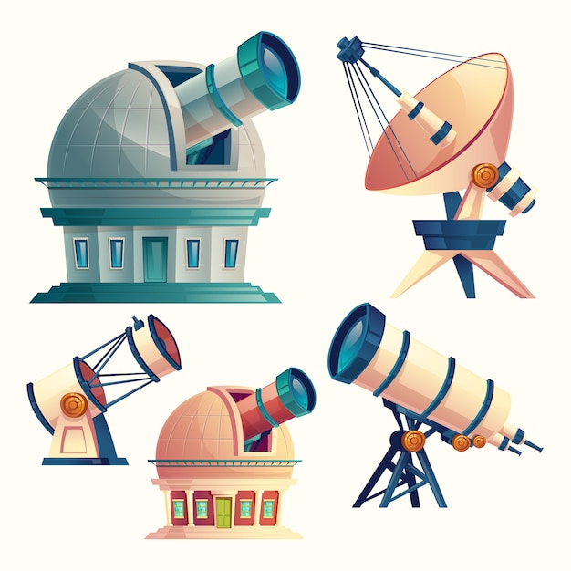 Set with astronomical telescopes, observatories, planetarium, satellite dish.  Free Vector