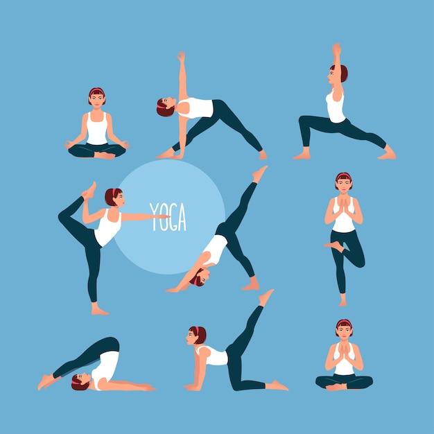 Набор с красивой женщиной, осуществляющей йогу. различные позы йоги. Premium векторы