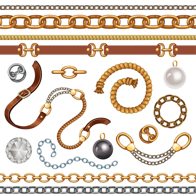 Set with belts and chains. Premium Vector
