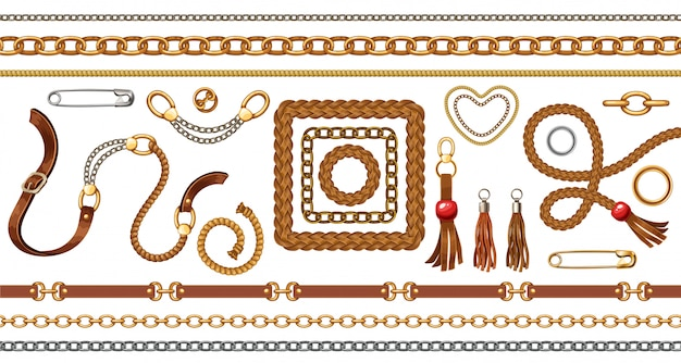 Set with belts and gold and silver chains, fringe Premium Vector