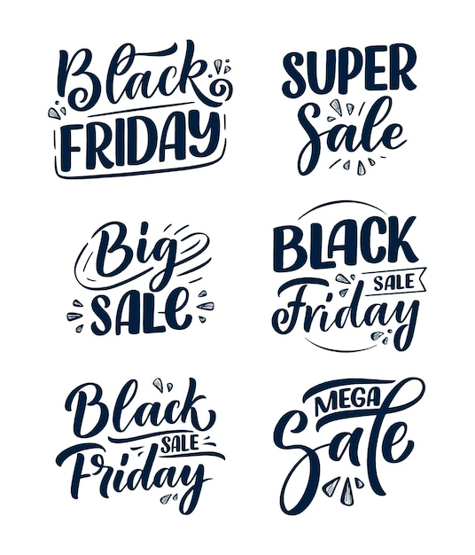 Set with black friday lettering in modern calligraphy style. Premium Vector