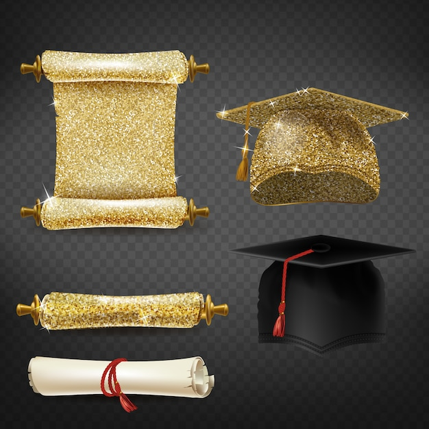 Set with black and golden graduation caps, glittering diplomas Free Vector