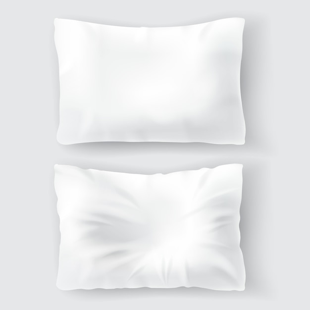Set with blank white pillows, comfortable, soft, clean and crumpled Free Vector