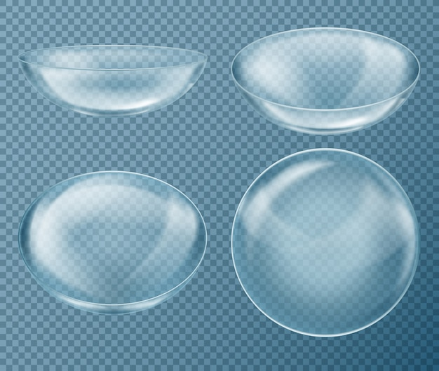Set with blue contact lenses for eye care, isolated on transparent background. medical equipm Free Vector