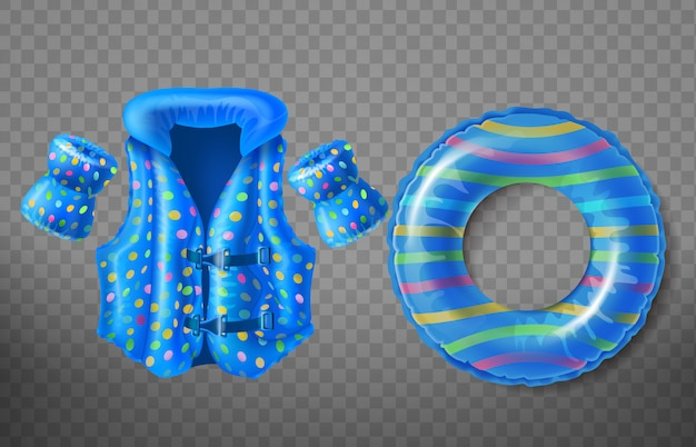 Set with blue rubber ring, life jacket and inflatable armbands for kids Free Vector