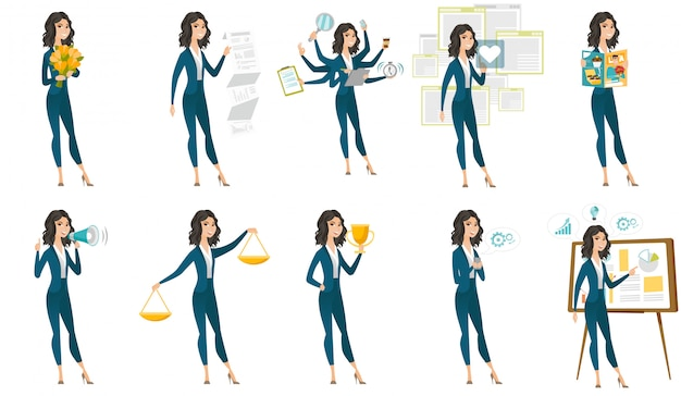 Set of with business people. Premium Vector