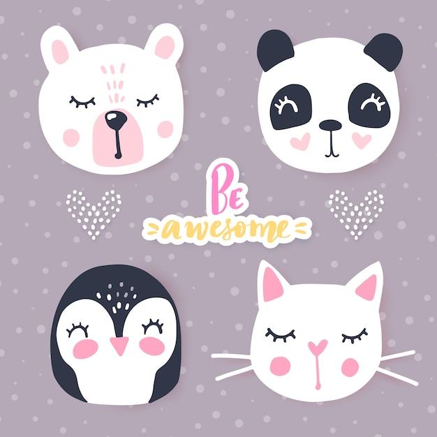 Set with cartoon animals  panda, cat, bear, bunny. adorable animals and inscriptions. Premium Vector