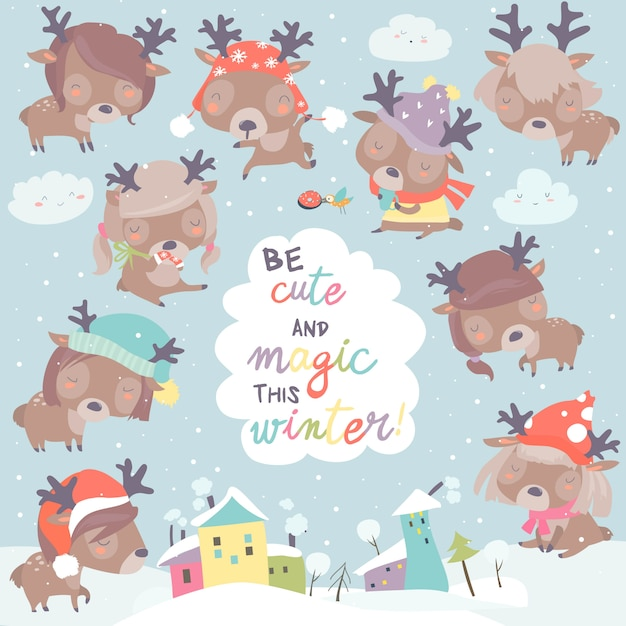 Set with cute little deers on winter background Premium Vector
