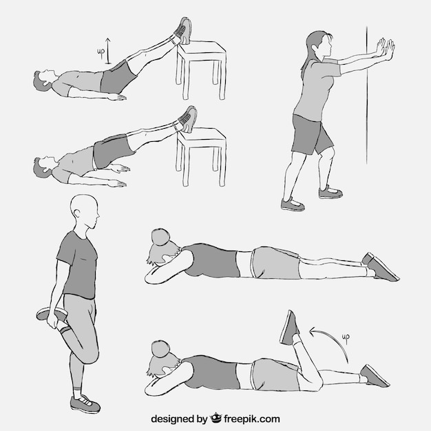 Set with different kind of physiotherapy exercises Free Vector