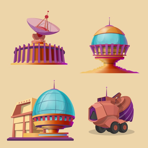 Set with different objects for space exploration, colonization and terraforming plane Free Vector