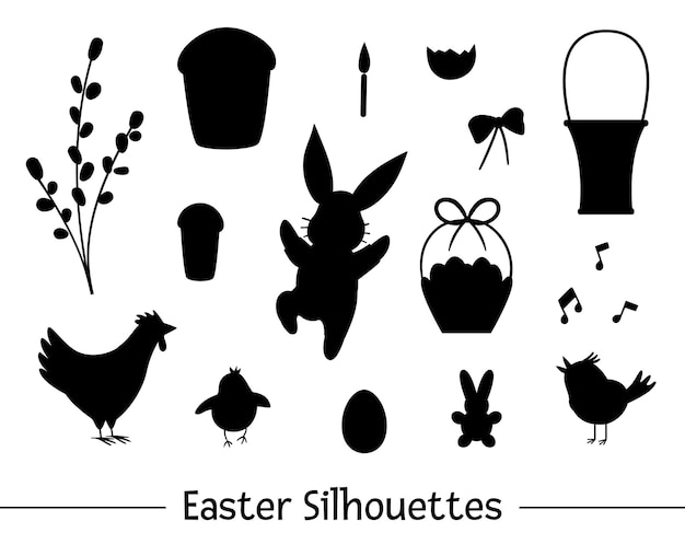 Набор с силуэтами пасхи. коллекция черных контуров милого зайчика, яйца, щебечущей птицы, цыпленка, корзины, торта, ивы. весенняя забавная иллюстрация. Premium векторы