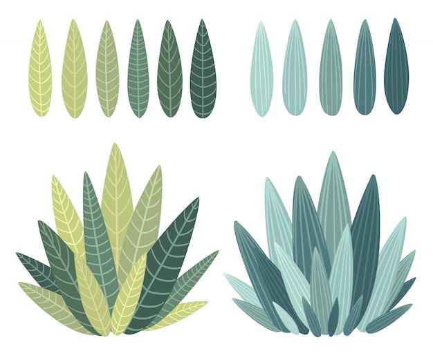 Набор с цветочными элементами и листьями. декоративные элементы для ваших листьев сучки в цветочном стиле иллюстрации Premium векторы