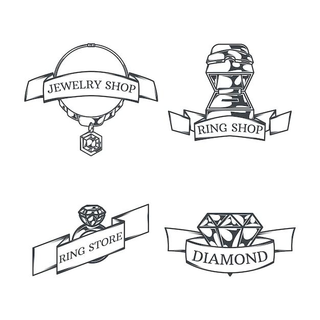 Set con quattro loghi di gioielliere monocromatici isolati Vettore gratuito