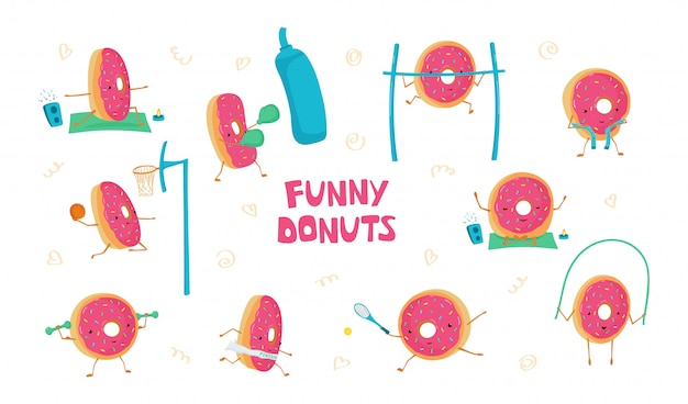 Set with funny cute donuts in sports. donuts meditates, plays basketball, tennis, running, jumping rope, boxing Premium Vector