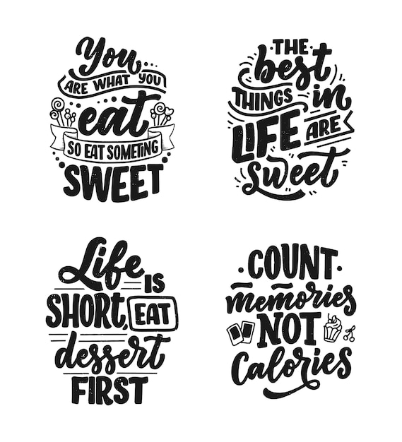 Premium Vector Set With Funny Sayings Inspirational Quotes For Cafe Or Bakery Print