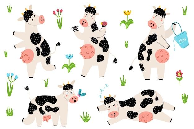 서서, 자고, 달리는 재미있는 발견 된 소로 설정하십시오. 유치한 스타일의 귀여운 농장 동물. 고립 된 요소를 낙서. 프리미엄 벡터