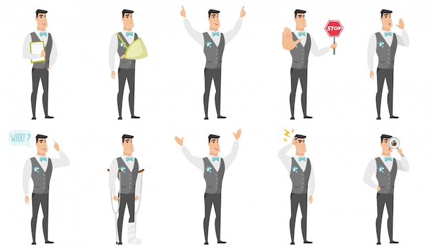 Set of with groom character Premium Vector
