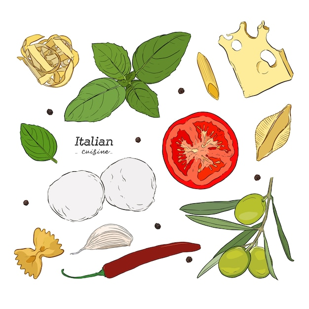 Set with hand drawn illustrations of food Premium Vector