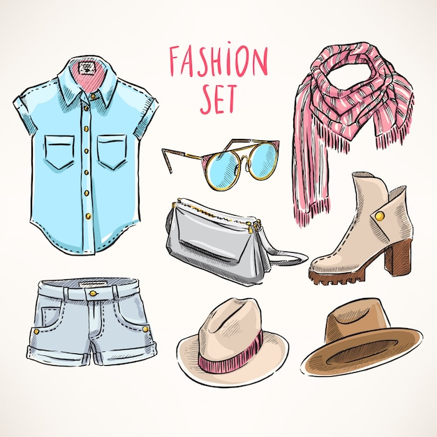 Set with hand-drawn youth clothing and accessories Premium Vector