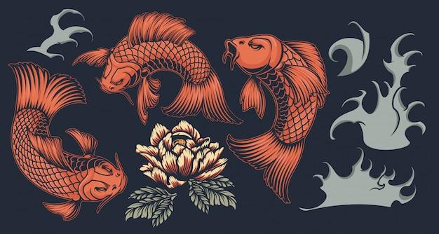 Set with koi carp on a japanese theme on a dark background. Premium Vector