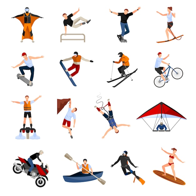 Set with people doing various kinds of extreme sports Free Vector