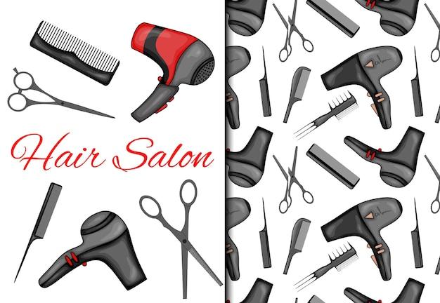 Набор с бесшовные модели и предметы для парикмахерской. Premium векторы