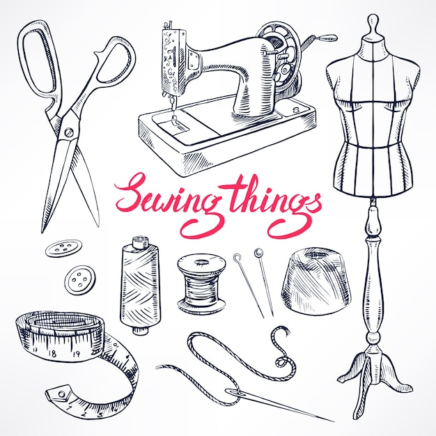 Set with sketch tailoring equipment. mannequin, sewing, sewing machine. hand-drawn illustration Premium Vector