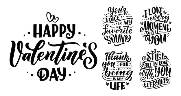 Set with slogans about love for valentine's day. Premium Vector