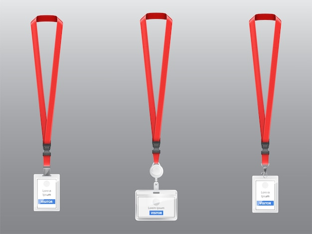 Set with three realistic plastic badges, holders with clips, buckles and red lanyards Free Vector