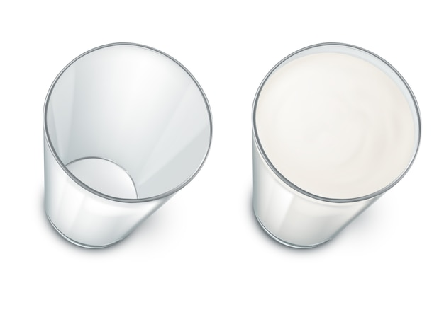 Set with two realistic transparent glasses, clean and empty, filled with milk Free Vector