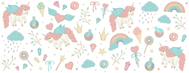 Set with unicorn cliparts. horizontal banner with cute rainbow, crown, star, cloud. Premium Vector