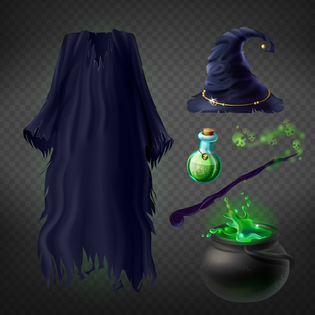 Set with witch costume for halloween party and magical accessories Free Vector