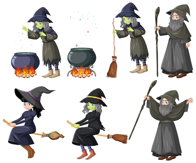 Set of wizard or witches and tools cartoon style isolated on white background Free Vector