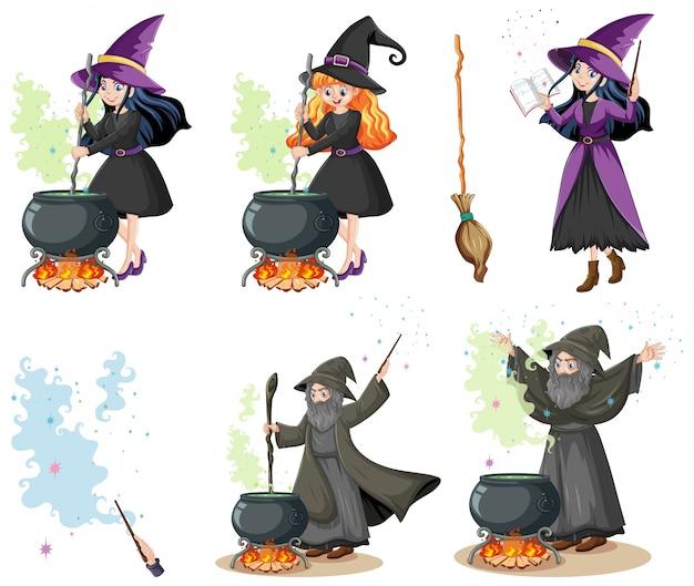 Set di procedura guidata o streghe con strumenti magici stile cartoon isolato Vettore gratuito