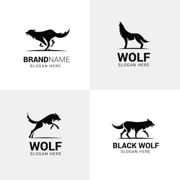 Set of wolf logos Premium Vector