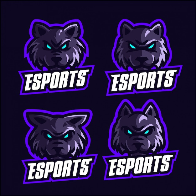 Set wolves esports logo template Premium Vector