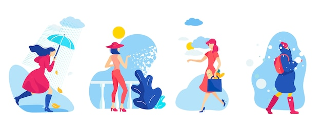 Set woman different season and weather conditions. Premium Vector