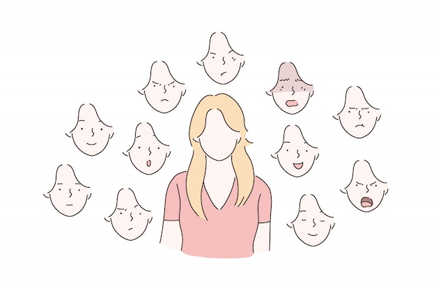 Set of woman emotions concept. Premium Vector