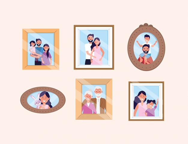 Set woman and man with daughter and son pictures Free Vector