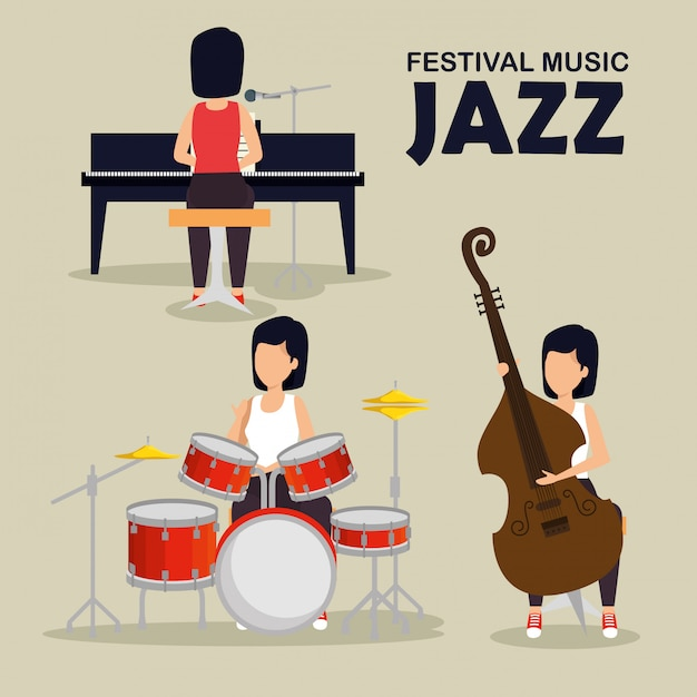 Impostare donna suonare strumenti musicali Vettore gratuito