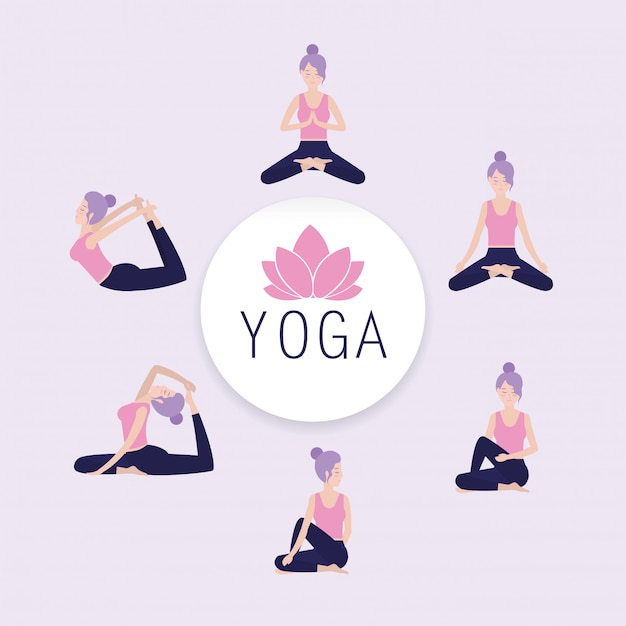 Set woman practice yoga balance Premium Vector