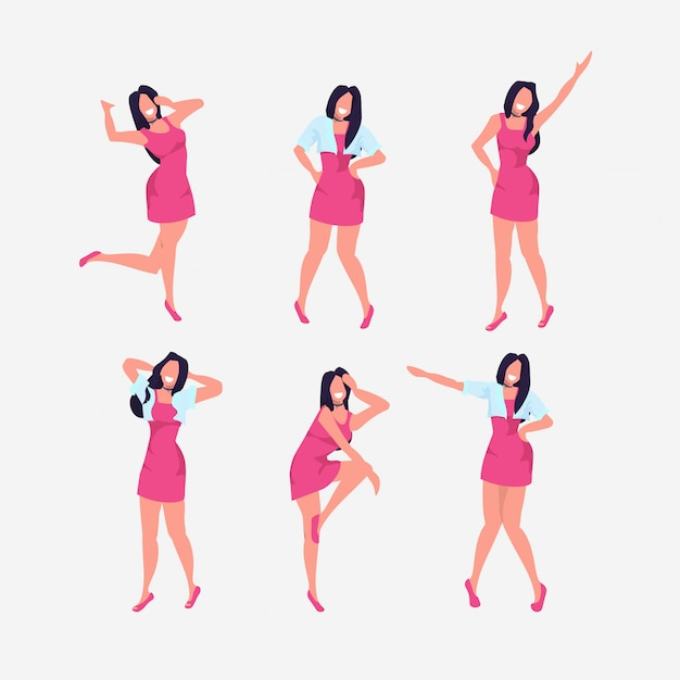 Set woman standing in different poses collection smiling female cartoon character posing white background  full length Premium Vector