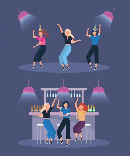 Set of women dancing with champagne bottles and lights Free Vector